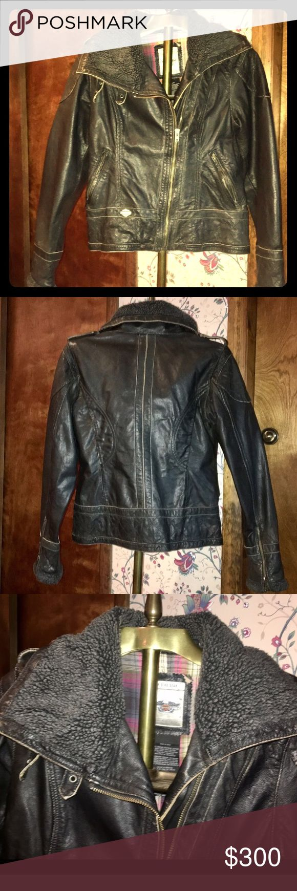 Awesome Harley Davidson distressed leather jacket! Gorgeous NWOT distressed leather Harley Davidson jacket!  Lined with plaid flannel, flattering fit, fleece around neck...zips up high to really protect from wind!  Cool 😎 angled zipper, zip up wrists...never worn! Received as 🎁...just not my style 😫women's small.  Metal Harley Davidson logo on front left bottom of coat 😍 Harley-Davidson Jackets & Coats