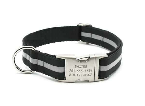 Black Reflective Dog Collar with Personalized Buckle – Bark Label