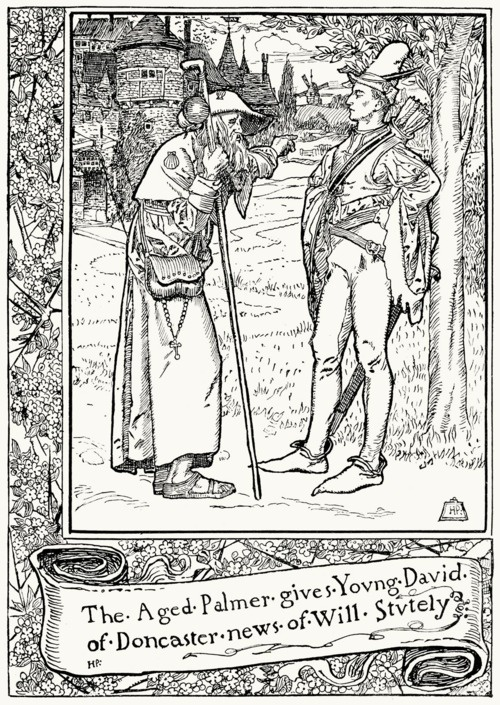 The aged palmer gives young David of Doncaster news of Will Stutely.  From The merry adventures of Robin Hood, written and illustrated by Howard Pyle, New York, 1892.Howard Pyle, Merry Adventure, Young David, Fairies Book, Doncaster News, Age Palmer, New York, Robin Hoods, Fairies Tales