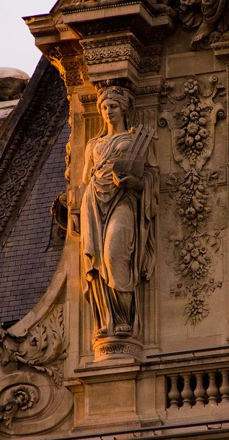 Caryatid, Louvre, Paris, France by Pierre-Jules Cavelier | 1857. Pavillon Turgot. A caryatid is a sculpted female figure serving as an architectural support taking the place of a column: