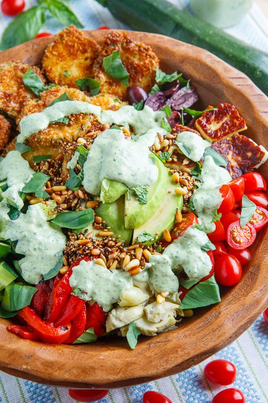 nobis men Greek Goddess Grain Bowl with Fried Zucchini Halloumi and Toasted Seeds