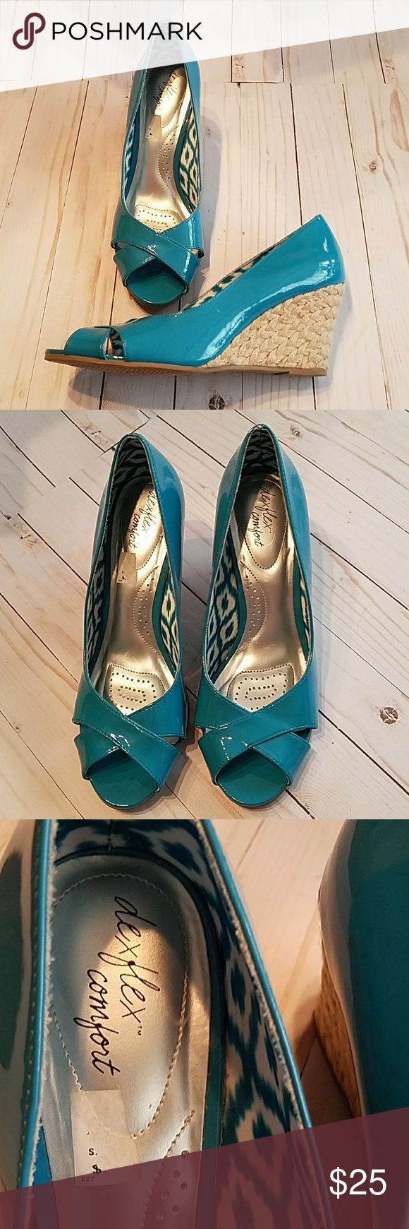 dex flex comfort Turquoise Wedge 10W dex flex comfort Excellent used condition  Very light wear Heel section some threads frayed Otherwise shoes are in perfect shape  NO odor NO scuffs  NO SHOE BOX  Women's wedge sandals Peep toe Inside cushion inner heel/arch/toes Bottom sole slip resistant  Size 10W Wedge heel 3-3.2 Made in Vietnam dex flex comfort Shoes Wedges