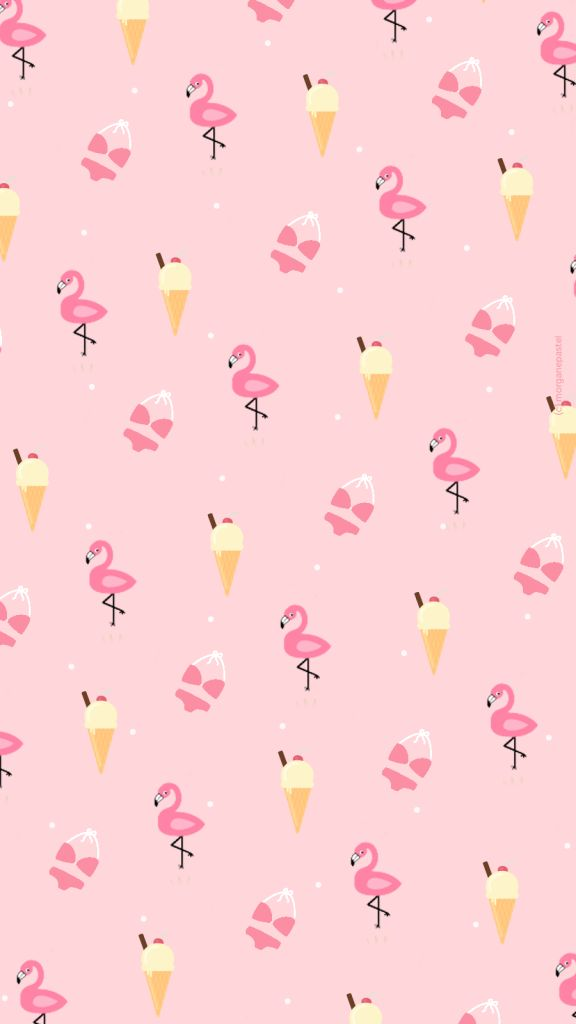 Wallpaper / Fond d'écran Ice cream & Flamingo pink summer - free download  . (c) Morgane Pastel