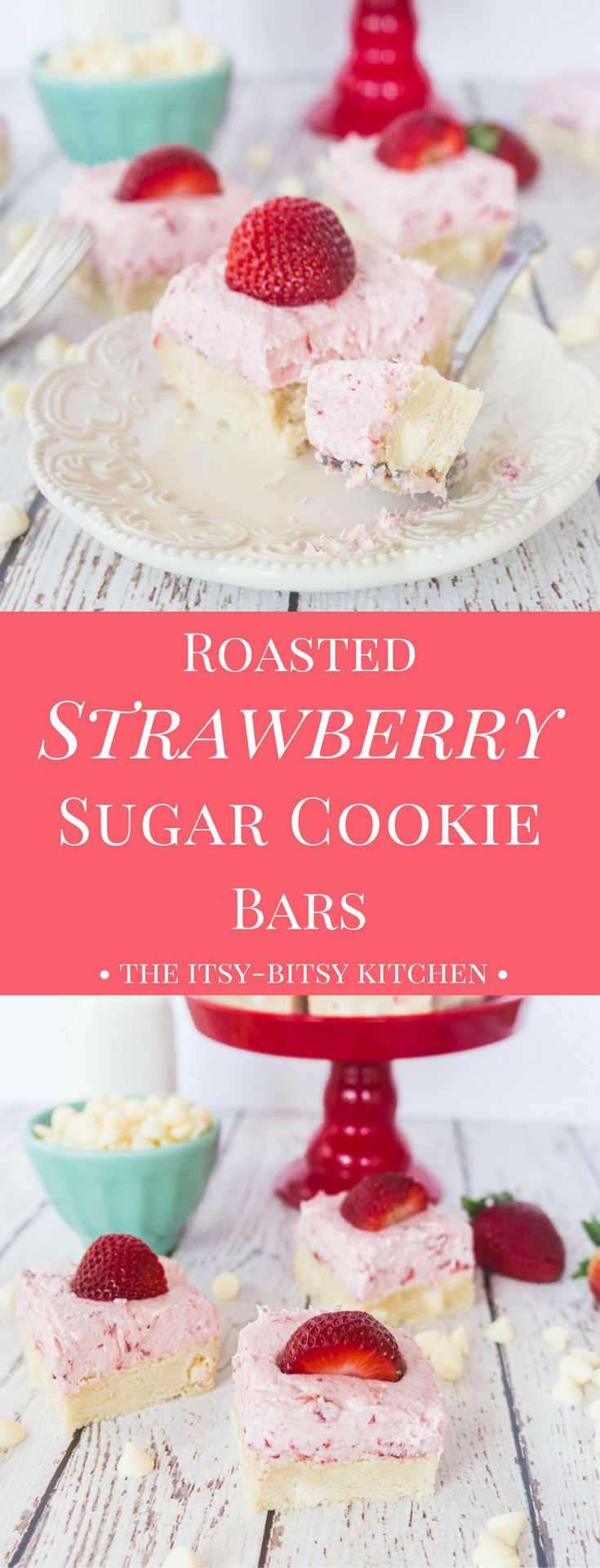 With a chewy cookie base and a creamy frosting on top, these sugar cookie bars with roasted strawberry buttercream are the perfect dessert to end any summer meal.