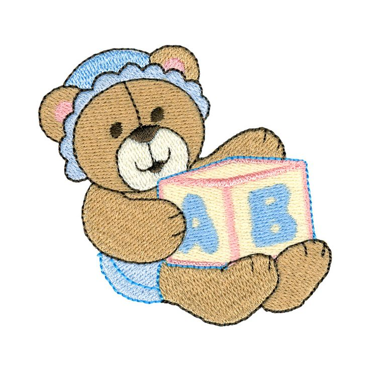 Baby teddy embr appl words sayings free
