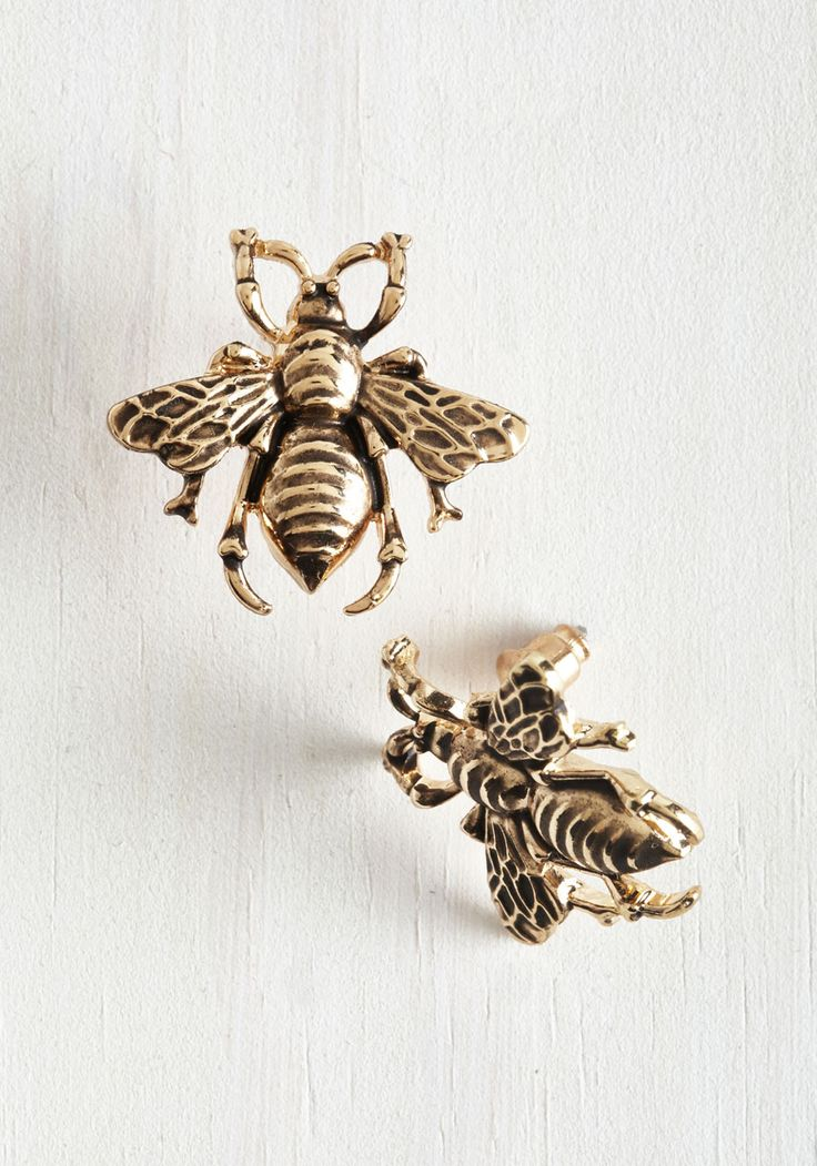 Bee Prepared Earrings. You never know when a beautiful insect will buzz by, so keep your camera and these gold, ModCloth-exclusive earrings handy! #gold #modcloth