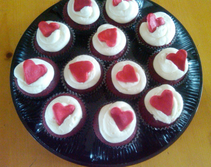 Getting a jump start on Valentine's Day....Red Velvet with Vanilla Cream Cheese Frosting.  Red Fondant heart.