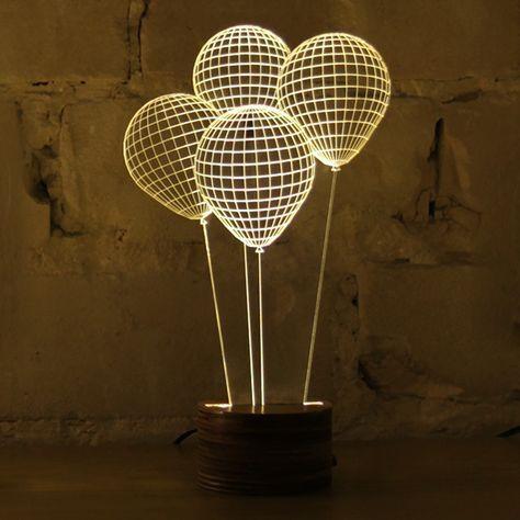 BULBING - LAMPE - STUDIO CHEHA Une impressionnante illusion d'optique. Cette lampe LED innovante agit comme un véritable trompe-l'œil car elle n'est qu'en 2D et semble éclairer une forme de ballon en 3D. Bulbing est réalisée grâce à une image 3D en fil de fer.