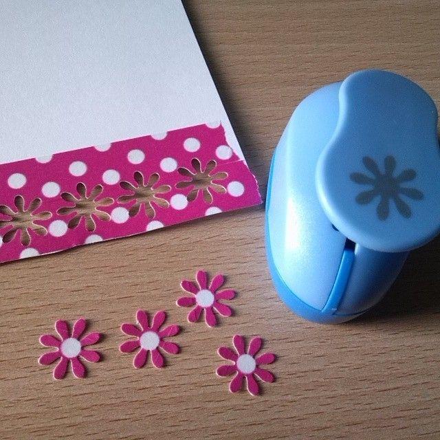 Flores con washi tape de lunares