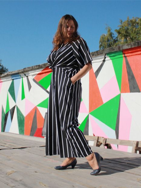 bc986f5efc SHEIN Black And White Striped Raglan Sleeve Plus Size Belted Women Wide Leg  Jumpsuits