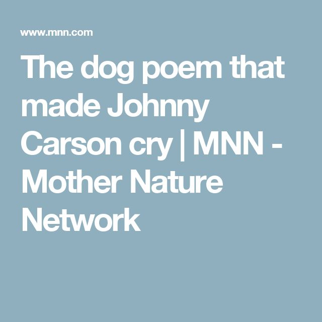 The dog poem that made Johnny Carson cry | MNN - Mother Nature Network