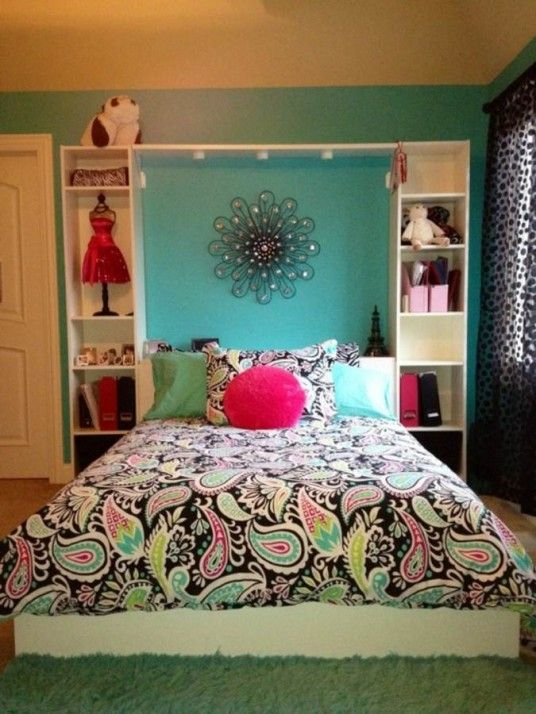 Like the bookshelves. Bedrooms : 24 Fancy Tween Girl Bedroom Ideas - Wonderful Tween Girl Bedroom with Pop Art in Duvet and Bed Cover and Light Blue Wall Color an...