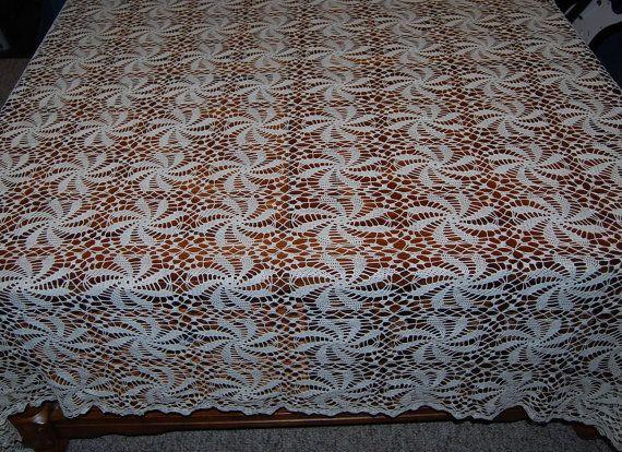 Vintage Tablecloth Crochet Ivory Pinwheel by CheekyVintageCloset, $54.00