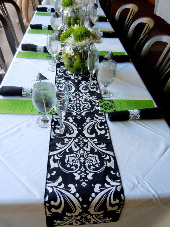 Elegant BLACK DAMASK LINENS   Table Runner Or Napkins, Or Placemats, Ossy White On  Black Runner, Wedding, Bridal, Shower, Reception, Gift