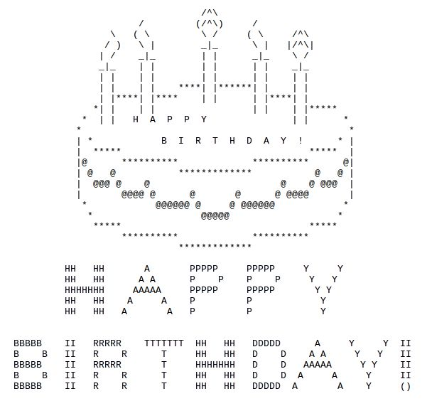 http://thatgrrl.hubpages.com/hub/Birthday-ASCII-Art