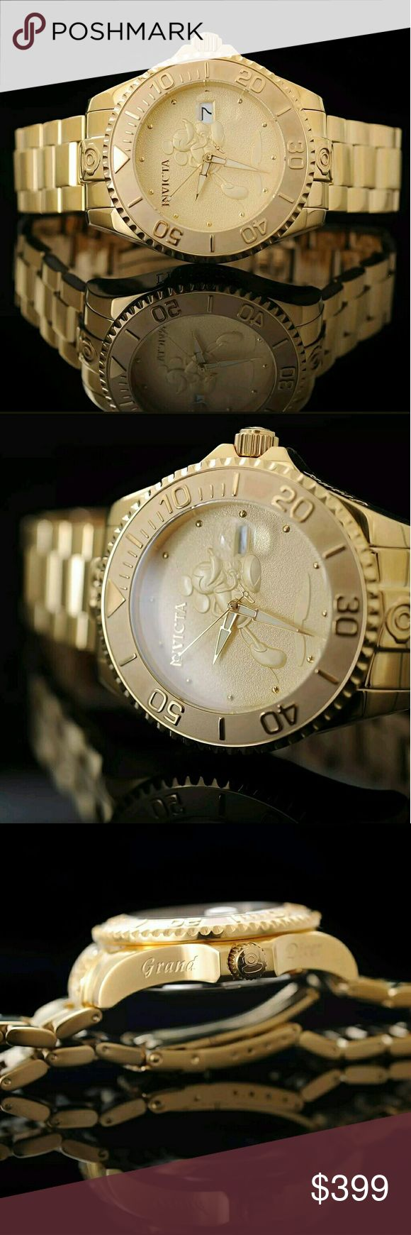 Big sale,$900 Invicta Automatic 18k watch Brand NWT Invicta Disney Mickey Mouse Grand 18k Automatic Mens Watch.   FIRM PRICE FIRM PRICE FIRM  $399.00 . AUTHENTIC WATCH  . AUTHENTIC BOX  . AUTHENTIC MANUAL    SHIPPING  PLEASE ALLOW FEW BUSINESS DAYS FOR ME TO SHIPPED IT OFF.I HAVE TO GET IT FROM MY STORE.   THANK YOU FOR YOUR UNDERSTANDING. Invicta Accessories Watches