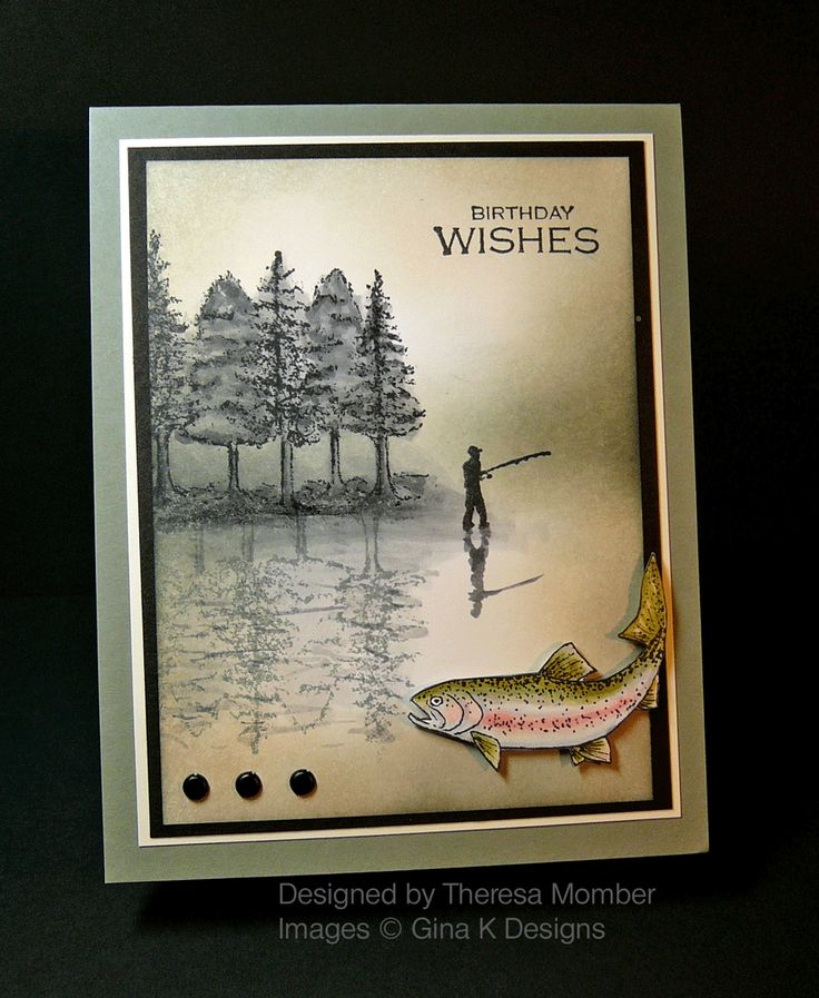 """By Theresa Momber. Stamps from """"Gone Fishing"""" by Theresa, sold by Gina K. Designs."""