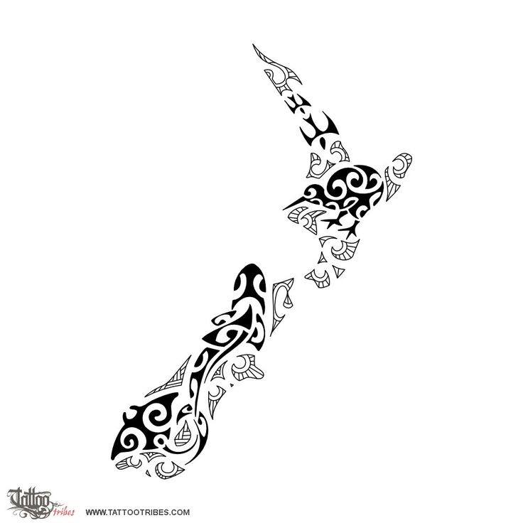 New Zealand. Nature.  Serena requested a design that could incorporate inside New Zealand´s shape a few of its typical animals. The used style is inspired by Maori styled kirituhi inside which we inserted animals related to[...]  http://www.tattootribes.com/index.php?newlang=English&idinfo=7241