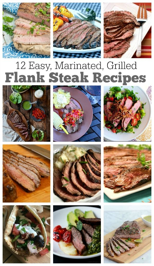 12 EASY Marinated Grilled Flank Steak Recipes for summer and holiday grilling and barbecues.  Flank steak is the perfect steak for grilling- it turns out tender and perfect if it has been marinated well.  These are recipes you'll want to keep handy all year long!