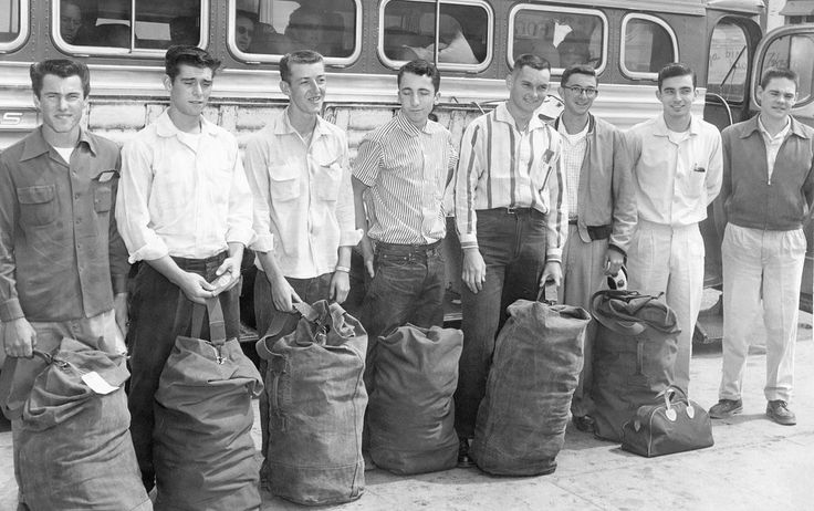 Upon graduating from high school in Templeton and Paso Robles, these young men boarded a Greyhound bus in Paso Robles headed to Fort Ord, California, for basic training with the U.S. Army Reserves, 1956. From left: Johnny Gates, Tom Van Eck, Jim Rhea, George Hicks, Darrell Radford, Fred Woodland, Bob Cole and unidentified. Courtesy Paso Robles Pioneer Museum | Volume Two: San Luis Obispo County: The 1950s, '60s and '70s