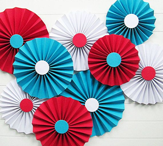 ROSETTES (9)  ...  Circus - Dr Seuss Decor  ...  Red-Turquoise-White