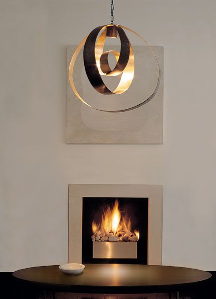 Lunar large pendant, CTo Lighting  Love the fireplace as well