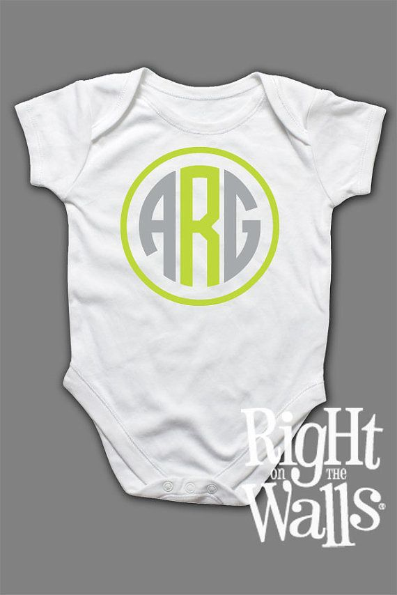 Baby Onesie Monogram Letters Custom Personalized Clothes Short Sleeve Shirt for Babies Monogrammed T-Shirt tshirt on Etsy, $14.95