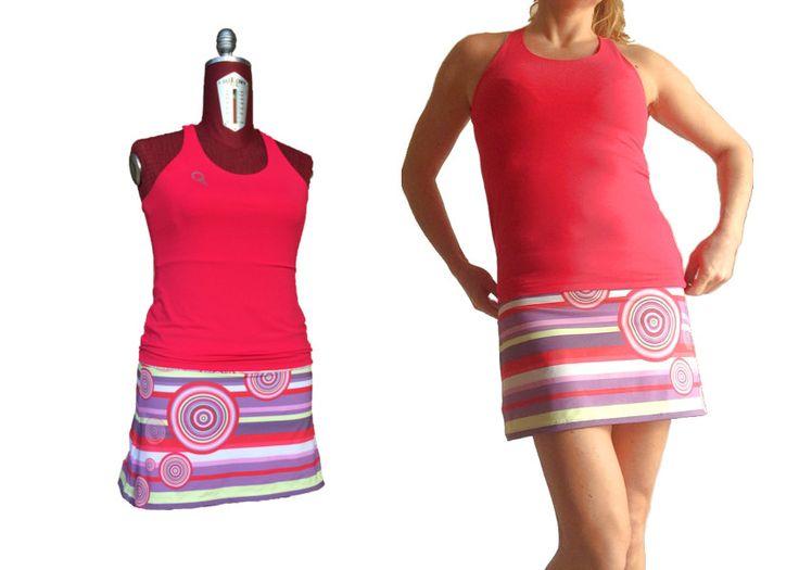 completo da tennis donna canotta rossa e gonna fantasia a righe stampa digitale con pantaloncino inserito di sartoriadeltennis su Etsy
