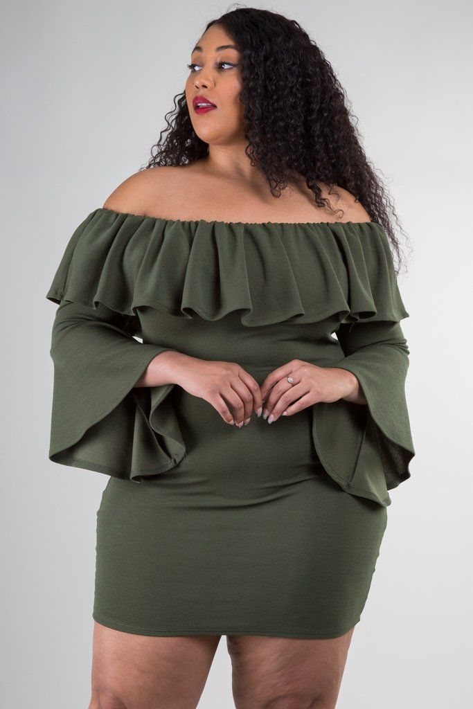 5b76a6e8afd Plus Size Off Shoulder Dress with Bell Sleeves