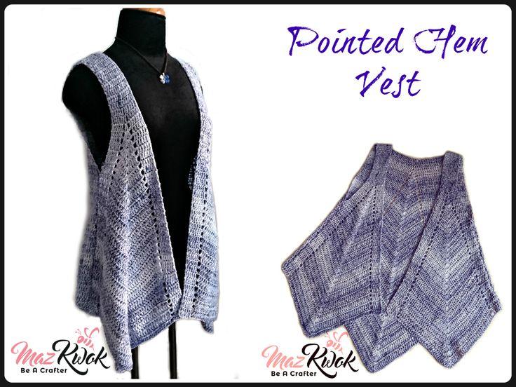 Crochet pointed hem vest
