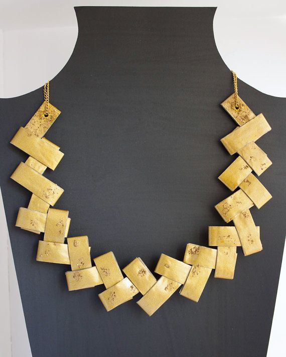 Gold Christmas paper handmade necklace  by PeitiBijoux on Etsy