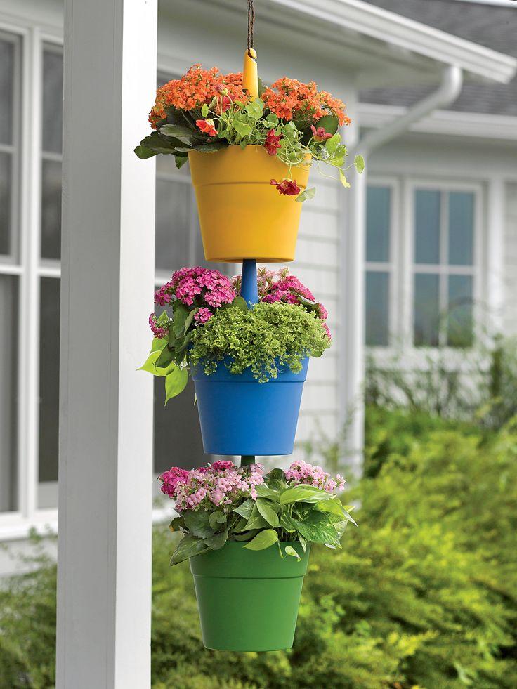 Cascading hanging planters vertical gardening gardener for Vertical garden containers