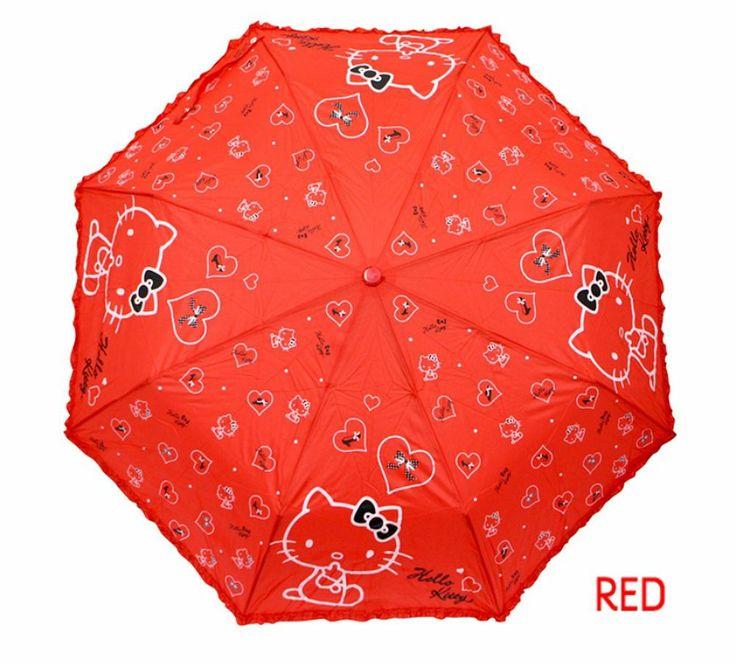 Hello Kitty Umbrella 3 Fold Woman Lady Girl Kids Children Gift Love Heart Red