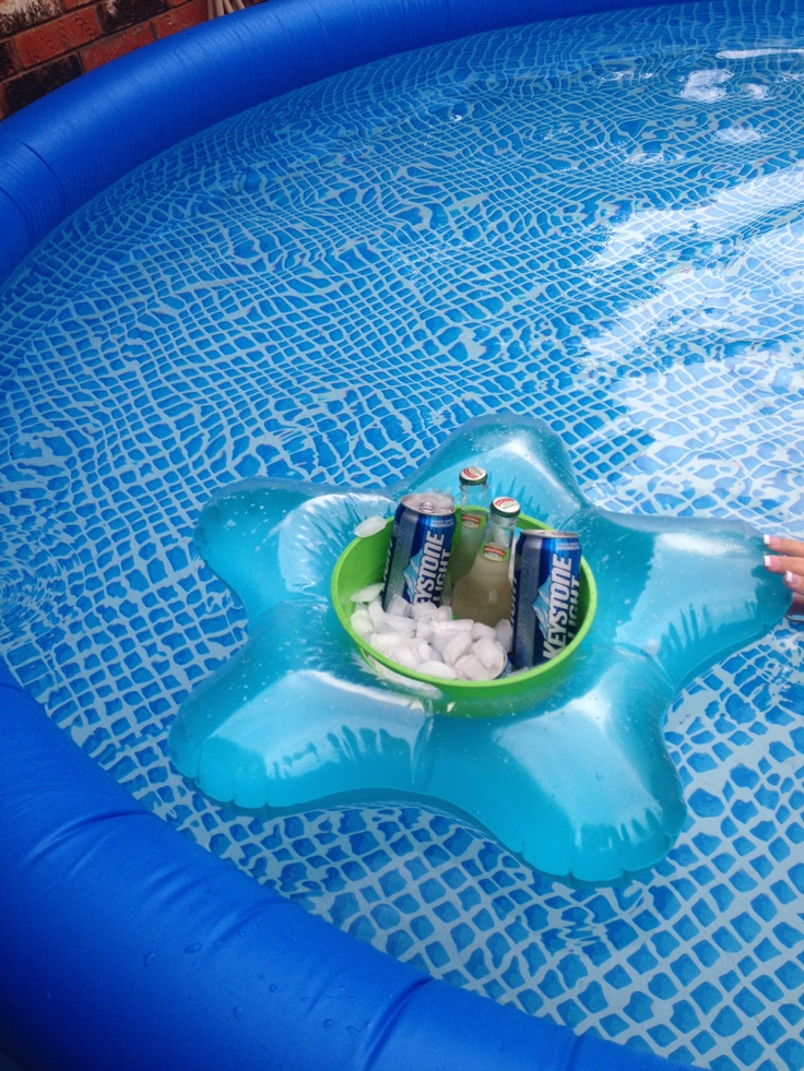 Cheap pool cooler idea!! One floatie ring and one plastic bucket!  Instant pool float cooler!