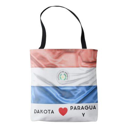 #Custom I Heart Flag of Paraguay Tote Bag - #travel #trip #journey #tour #voyage #vacationtrip #vaction #traveling #travelling #gifts #giftideas #idea