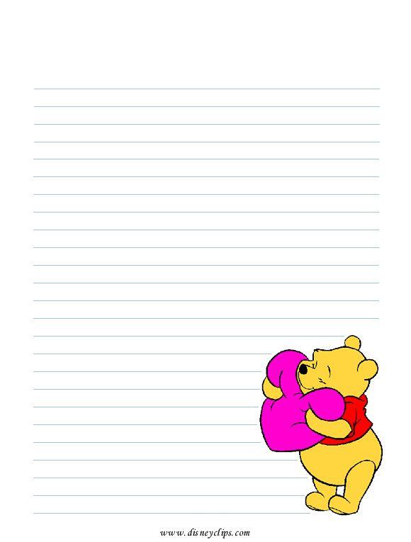 Winnie the Pooh heart stationery