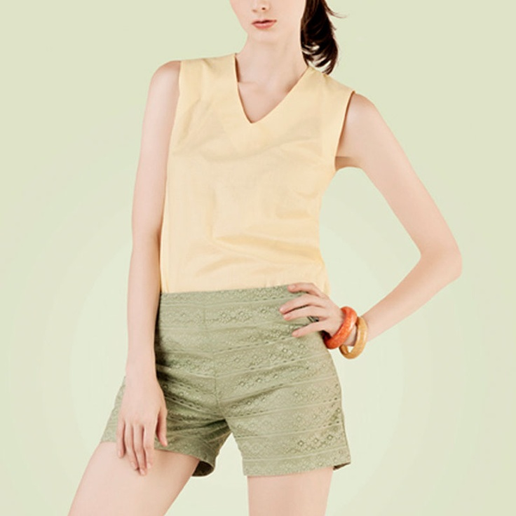 POPLIN Lace Short Pants Green