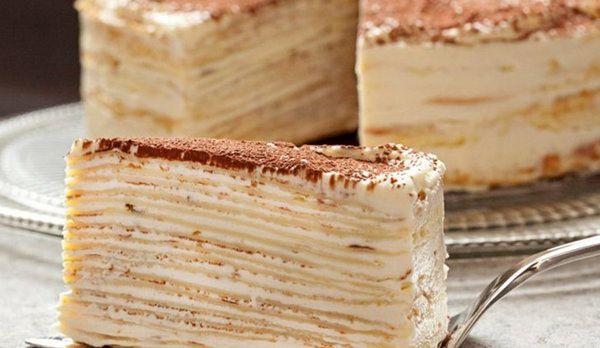 Сложно  сказать, к кухне какой страны относится торт «Крепвиль», но с  французского «креп» переводится как «блин». И действительно, этот десерт  представляет из себя торт из тонких коржей, похожих на блины.