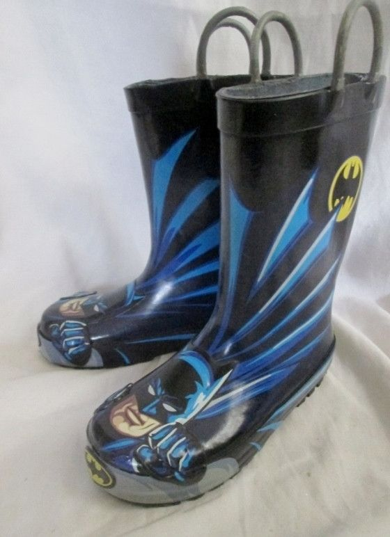 Kids Toddle BATMAN Wellies Rain Boots Rainboots Gumboots BLACK 11 Puddle Jumpers