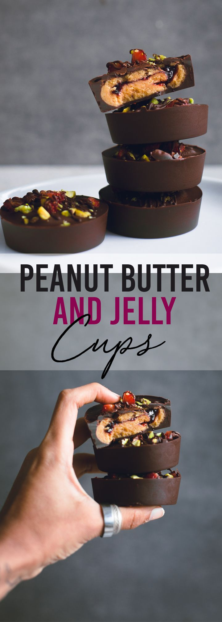 Vegan Peanut Butter and Jelly Cups. A fun variation to the traditional Peanut Butter Cup. 6 Ingredients, 15 minutes to make and all too easy to eat! #vegan #peanutbutter #jelly #chocolate #simple #healthy #dairyfree