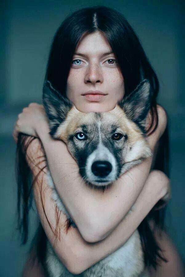 gyravlvnebe: Me and my dog Pandora, adopted from the street© Sergei Sarakhanov/////Their eyes match...beautiful ♥