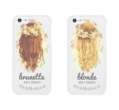 Floral Blonde Brunette Cute BFF Mathing Phone Cases For Best Friends