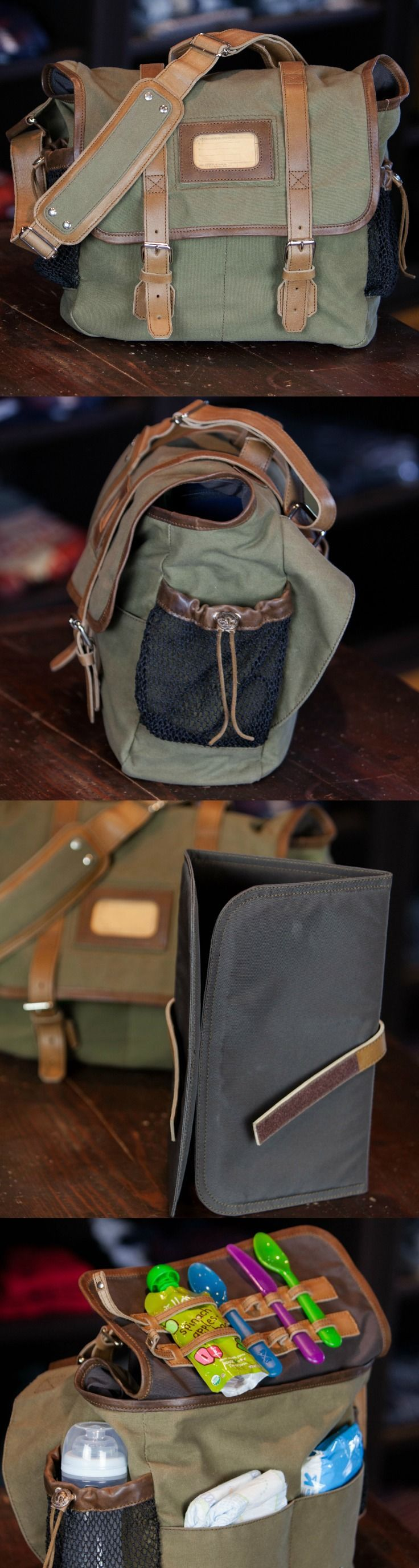 Perfect first Father's day gift: the manliest diaper bag you've ever seen. The Elkton waxed canvas mens diaper bag. Removable nylon changing pad, fish net bottle holders, adjustable leather strap. diaper bag for dad | diaper bags that don't suck