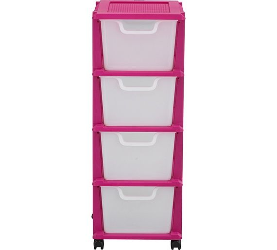 Buy 4 Drawer Plastic Storage Tower - Pink at Argos.co.uk, visit Argos.co.uk to shop online for Plastic storage boxes and units, Storage, Home and garden