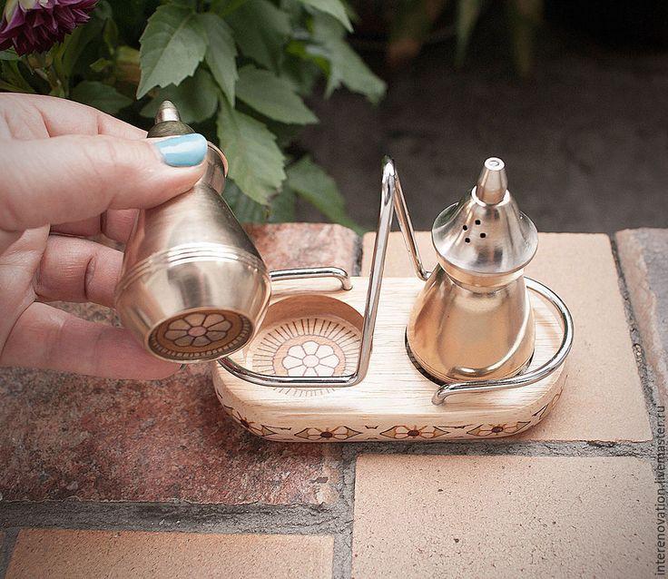 """Купить набор для специй """"соль и перец в танце итальянского Арт-Деко"""""""" - кремовый, стальной, серебряный"""