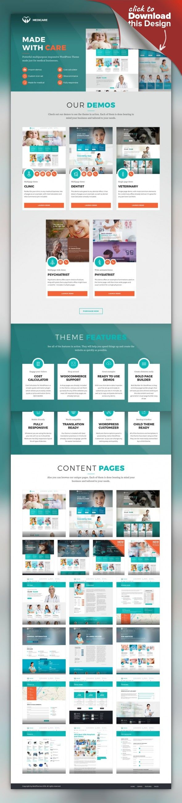 Medicare - Medical & Health Theme care, clean, clinic, corporate, dental, dentist, doctor, health, health care, healthcare, hospital, medical, medicine, vet, veterinary Medicare is a WordPress Theme exclusively built for health, medical, clinic, dental or veterinary services websites. It is fully Responsive, Retina Ready and Easy to customize. New demos included Medicare offers comprehensive options panel, unique page transitions and distin...