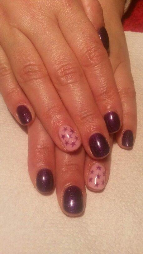 Purple stars nail design