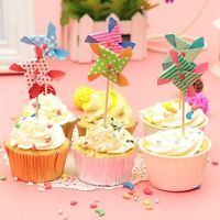 6pcs Lovely Mini Windmill Cup Cake Topper Pick Birthday Wedding Party Decoration