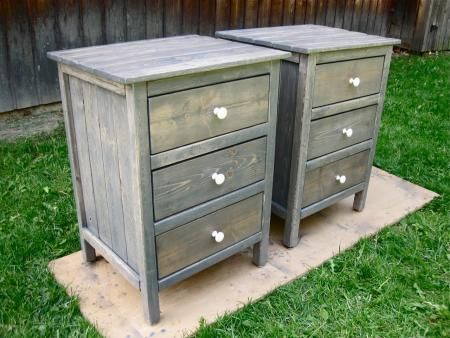 Really pretty diy nightstands plans by ana-white.com gray stain weathered wood look pine
