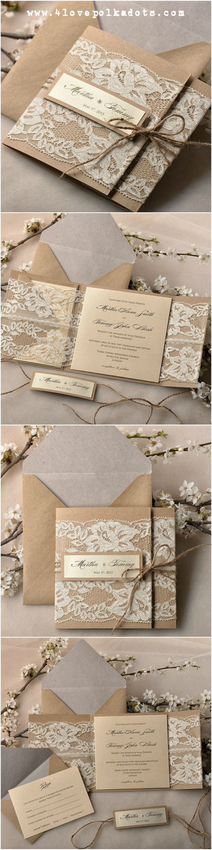 Wedding invitation with lace #4lovepoladots #weddinginvitations #weddingpaper #rusticwedding #vintagewedding #invitation